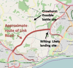 Route of Link Road and battle site, Hastings