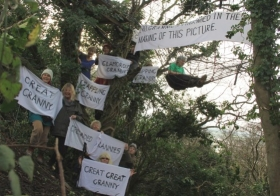 Tree camp and protest at Combe Haven