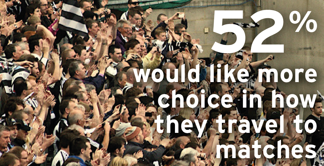 52% would like more choice in how they travel to matches