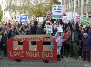 Bus protest in Lewes