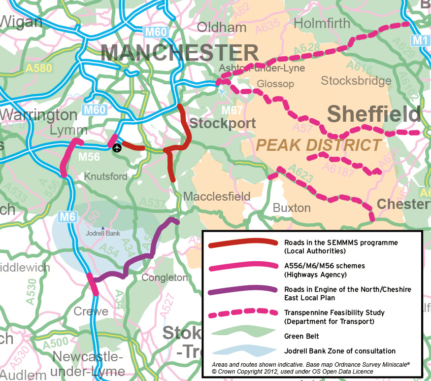 Manchester and Cheshire roads map - base map Ordnance Survey