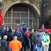 Photo: a demonstration at the Woodhead Tunnel