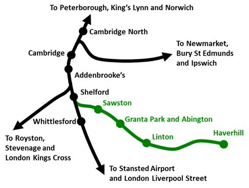 Rail map showing the restored link