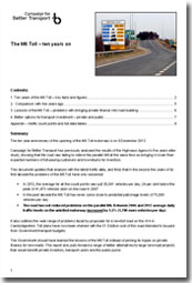 Cover of report - M6 Toll, ten years on