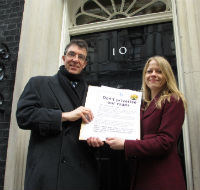 Stephen Joseph and Sian Berry at Downing Street with our petition