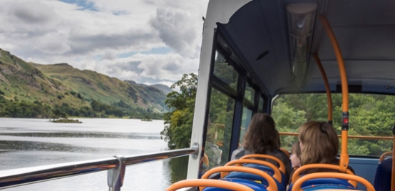 Open-topped bus in the Lake District