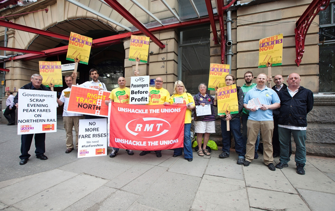 Protest group at Manchester Vitcoria. Photography: Adam Spencer Young.