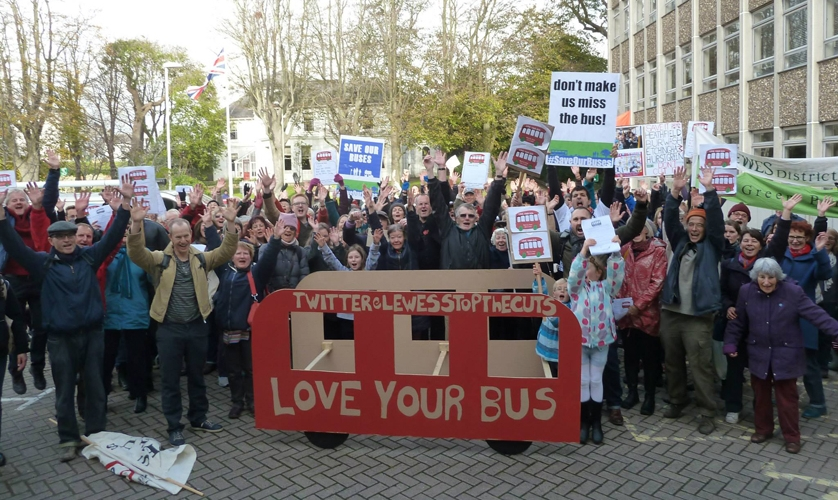 Bus demo in Lewes