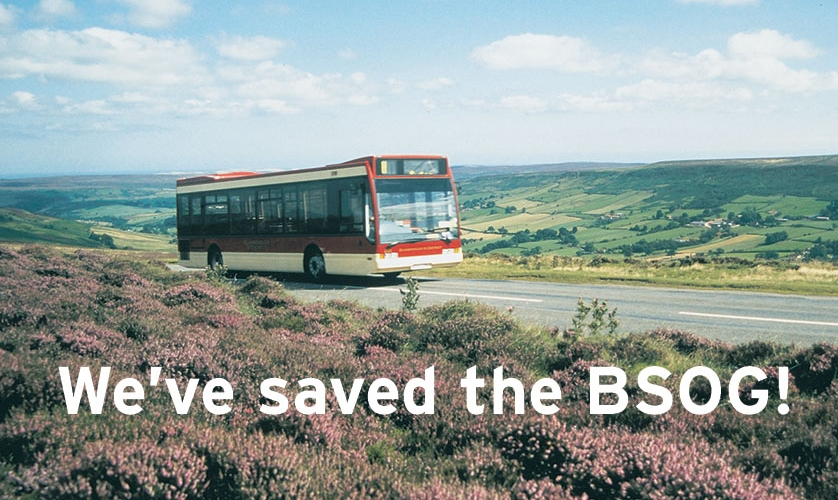 "Bus photo with words ""We've saved the BSOG"""