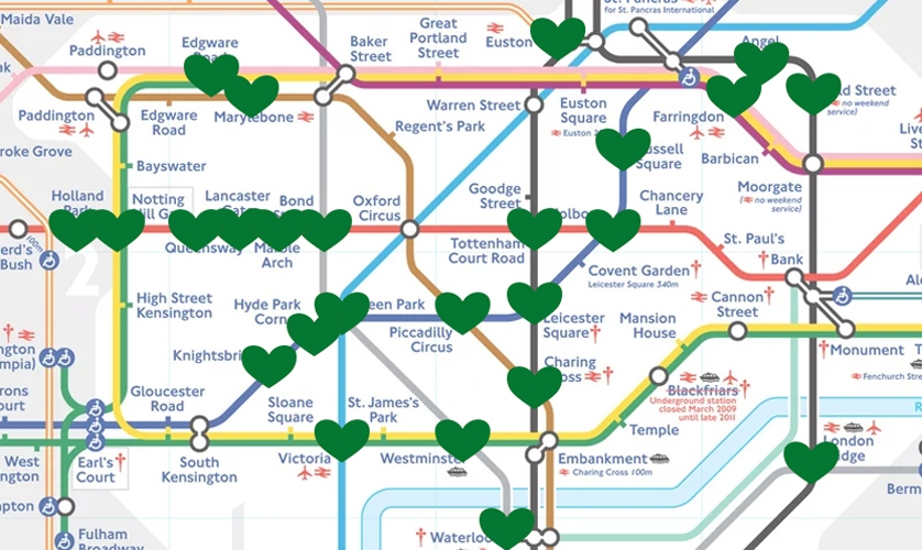 Map showing Tube stations at risk of flooding