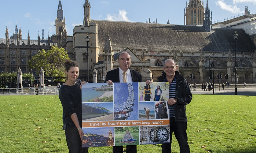 Photo: about to hand our giant postcard in to the Chancellor
