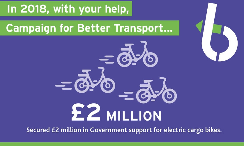 Secured £2 million in Government support for electric cargo bikes