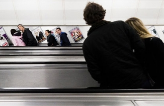 Photo: people on escalators