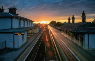 Station at sunset