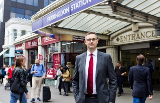 Darren Shirley outside Farringdon Station, London