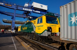 A freight train at Felixstowe Port