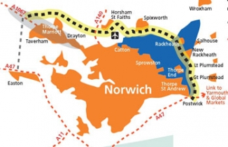 Map of Norwich Northern Distributor Road route