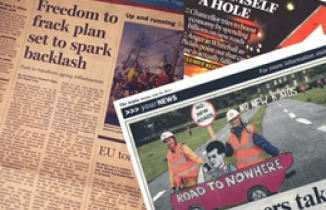 Road protest headlines montage