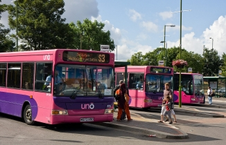 Three pink Uno buses in a carpark, with people in foreground