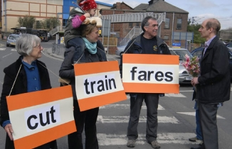 Photo: Lord Adonis listening to our request to cut train fares
