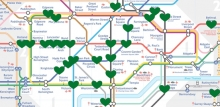 Image of tube map with green hearts to show stations at risk of flooding