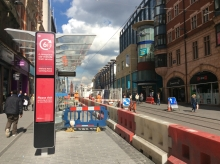 Midland Metro tram link under construction in Birmingham