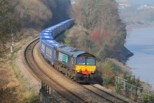 Tesco train going past the River Severn