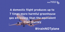 A domestic flight produces up to 7 times more harmful greenhouse gas emissions than the equivalent train journey