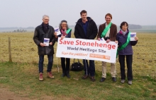 Historians Dan Snow and Tom Holland with Kate Freeman nd Margaret Willmot of the Stonehenge Alliance, and Chris Todd
