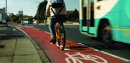 bike passing bus in cycle lane