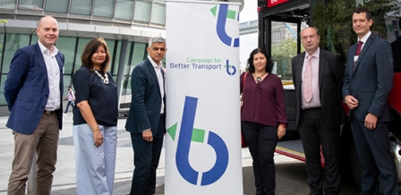 Photo: London Mayor Sadiq Khan with Campaign for Better Transport team and speakers from the summit