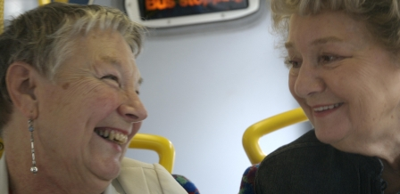 two ladies on the bus
